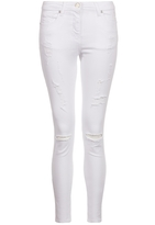 Quiz White Denim Ripped Skinny Jeans