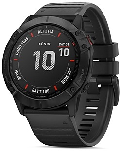 Garmin Fenix 6X Black Silicone Strap Smartwatch, 51mm