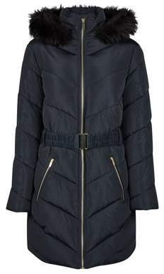 Dorothy Perkins Womens Navy Long Luxe Padded Coat