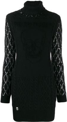Philipp Plein Embellished Sleeves Knitted Dress