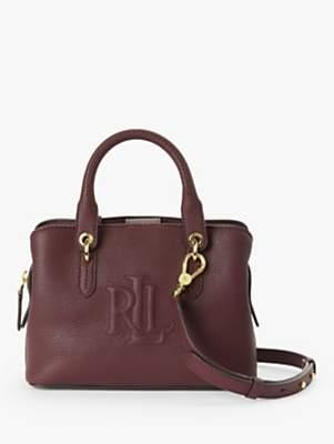 Ralph Lauren Ralph Trapunto Logo Classic Pebble Hayward Leather Shoulder Bag, Bordeaux