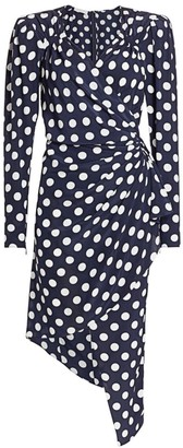 Michael Kors Polka Dot Silk Asymmetric Wrap Dress