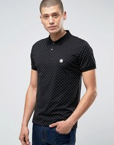 Pretty Green Polo Shirt With Polka Dot In Slim Fit Black
