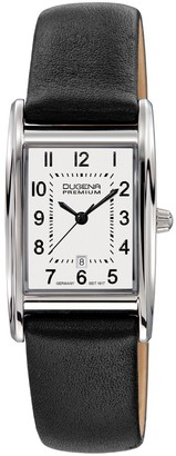 Dugena Women's Premium Quartz Watch with White Dial Analogue Display and Black Leather Strap