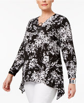 NY Collection Plus Size Handkerchief-Hem Top