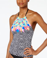Bar III Feather Daze Printed High-Neck Tankini Top, Only at Macy's