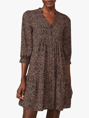 Phase Eight Penele Ditsy Spot Print Swing Dress, Camel/Black