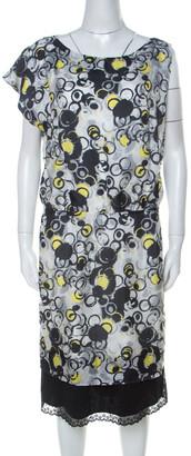 Gianfranco Ferre GF Multicolor circle Print Silk Lace Detail Asymmetric Shoulder Dress L