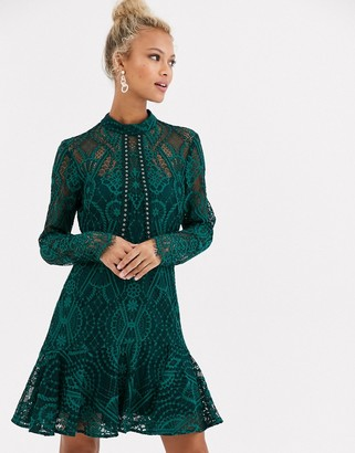 Forever New high neck lace mini dress in teal-Green