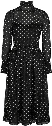 RED Valentino Polka-dot metallic-weave georgette midi dress