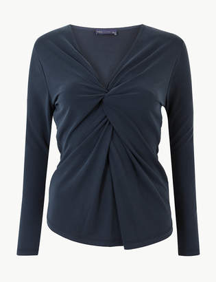 M&S CollectionMarks and Spencer Twisted Front V-Neck Fitted Long Sleeve Top
