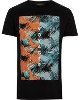 River Island MensBlack voyager print t-shirt