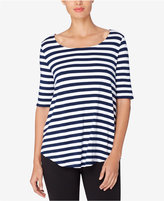 Catherine Malandrino Catherine Willy Striped Scoop-Neck Top