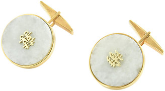 One Kings Lane Vintage 1950s Chinese Jade & Gold Cuff Links - Owl's Roost Antiques