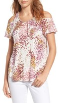 Lucky Brand Women's Cold Shoulder Floral Top
