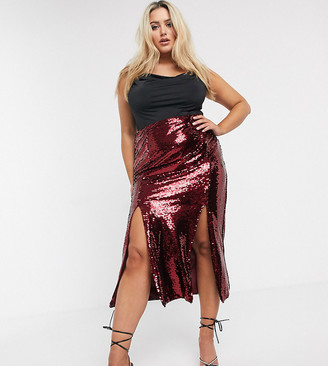 Unique21 Hero Unique 21 sequin midi skirt in wine