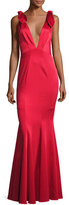 Zac Posen Katerina Sleeveless Satin Mermaid Gown, Red