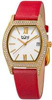 Burgi Women's Matte White Dial with Swarovski Crystal Accented Gold-Tone Case on Genuine Leather Red Strap Watch BUR166RD
