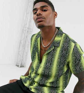 Mauvais revere shirt in neon snake print reg fit