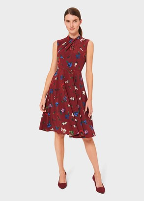 Hobbs Amina Floral Twist Neck Dress