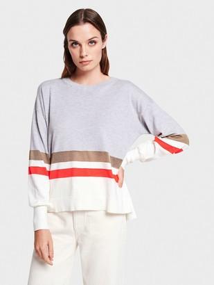 White + Warren Mixed Stripe Pullover