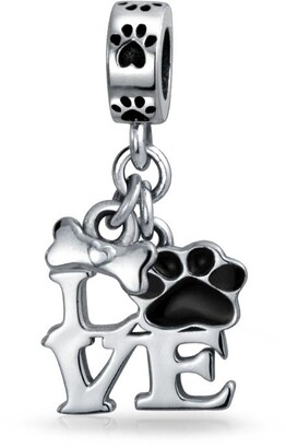 Bling Jewelry Black Dog Cat Puppy Kitten Paw Print BFF Pet Dangle Charm Bead Silver