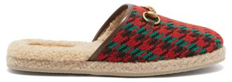 Gucci Fria Shearling-lined Houndstooth Tweed Slippers - Red Multi