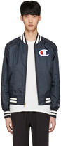 Champion Reverse Weave Reversible Navy Logo Bomber Jacket