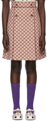 Gucci Off-White and Red GG A-Line Miniskirt