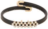 Natasha Accessories Mini Crystal Leather Cuff Bracelet