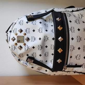MCM Stark White Leather Backpacks