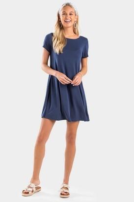 francesca's Donelle Button Back Dress - Navy