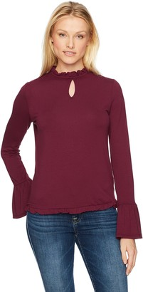 Freshman 1996 Women's Bell Sleeve Top with Ruffle Neck