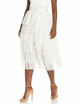BCBGMAXAZRIA Women's Flocked Dot Tulle Skirt