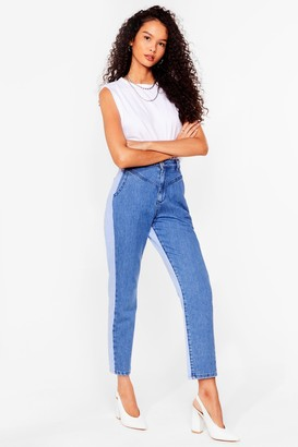 Nasty Gal Womens Opposites Attract Two-Tone Mom Jeans - Blue - 6, Blue