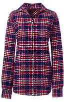 Lands' End Women's Plus Size Long Sleeve Flannel Shirt-Rich Red Windowpane