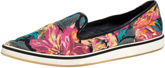 Nicholas Kirkwood Multicolor Floral Print Satin Alona Pointed Toe Slip On Sneakers Size 39