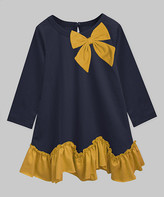 A.T.U.N. Girls' Casual Dresses navy-mustard - Navy & Mustard Bow-Accent Amy Ruffle A-Line Dress - Infant, Toddler & Girls