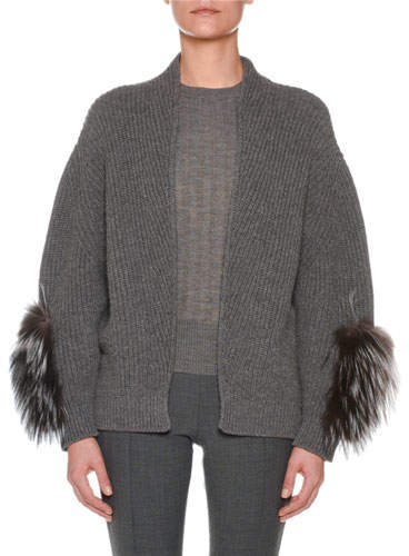 Agnona Open-Front Cashmere Ribbed Cardigan w/ Fox Fur Sleeve Patches