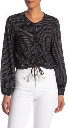 Rachel Roy Polka Dot Long Sleeve Cinch Tie Crop Top