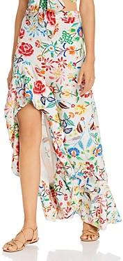 All Things Mochi Clara Floral Print Silk Maxi Skirt