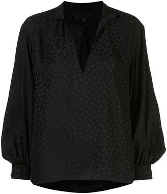 Nili Lotan V-neck stand up collar blouse