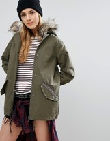 Brave Soul Parka With Faux Fur Trim Hood And Tape Details