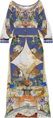 Camilla Muse Novels Belted Embellished Printed Silk Crepe De Chine Maxi Dress
