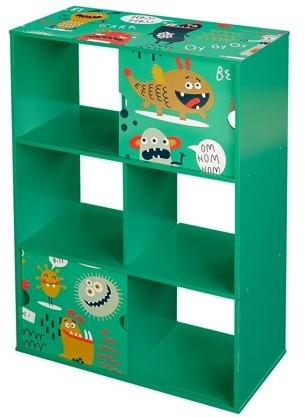 URBAN RESEARCH Senda Send Monsters Kids Bookshelf, 3-Tier with 2 Sliding