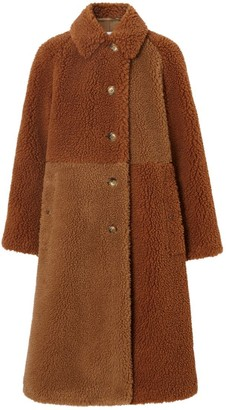 Burberry Faux Shearling And Camel Hair Blend Coat