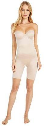 Spanx Suit Your Fancy Strapless Cupped Mid-Thigh Bodysuit (Champagne Beige) Women's Jumpsuit & Rompers One Piece