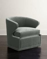 Horchow Dyna St. Clair Aqua Velvet Swivel Chair
