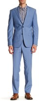 Simon Spurr Blue Sharkskin Two Button Notch Lapel Wool Regular Fit Suit
