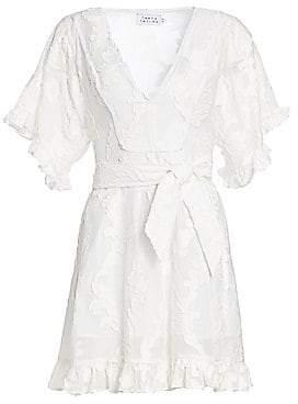 Tanya Taylor Women's Gabriela Short Sleeve Burnout Floral Dress